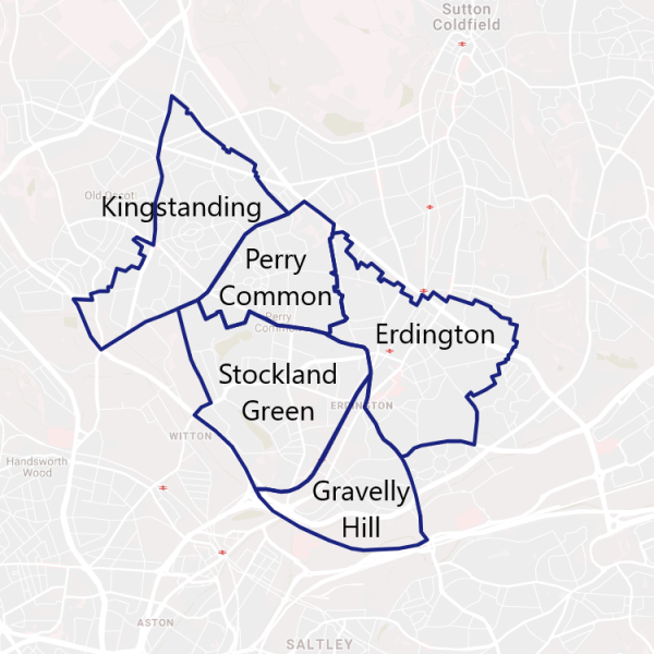 Erdington, Gravelly Hill, Kingstanding, Perry Common, Stockland Green