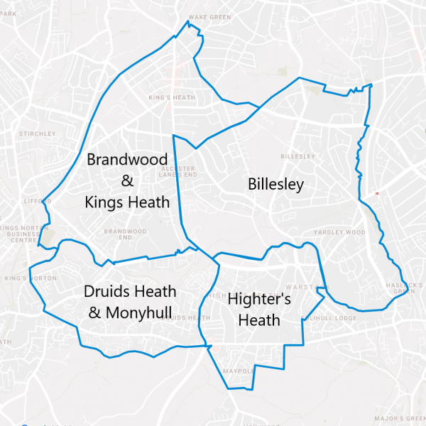 Billesley, Brandwood & Kings Heath, Druids Heath & Monyhull, Highter's Heath